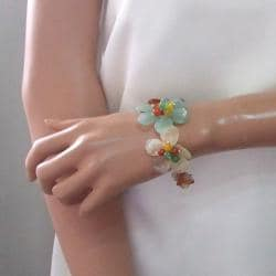 Autumn Floral Garland Mix Gemstone Adjustable Cuff (Thailand)