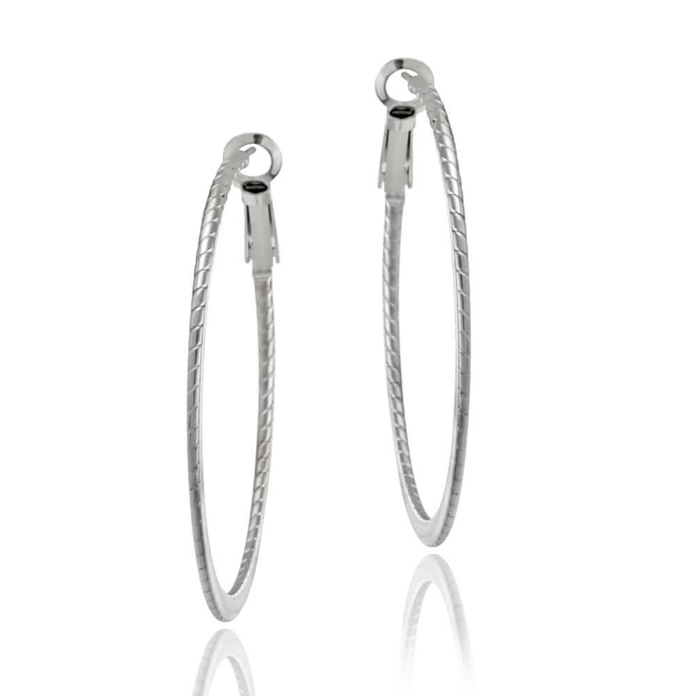 Mondevio Stainless Steel Flat Edge Corrugated Hoop Earrings
