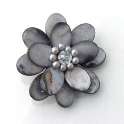 Mother of Pearl Sweet Azalea Grey Floral Pin/ Brooch (Thailand)