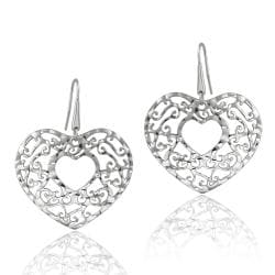 Mondevio Stainless Steel Open Filigree Designed Heart Earrings