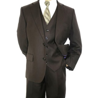 Ferrecci Boy's Dark Brown 3-piece 2-button Suit