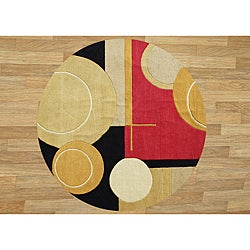 Handmade Sabrina Rust New Zealand Wool Rug (6' Round)
