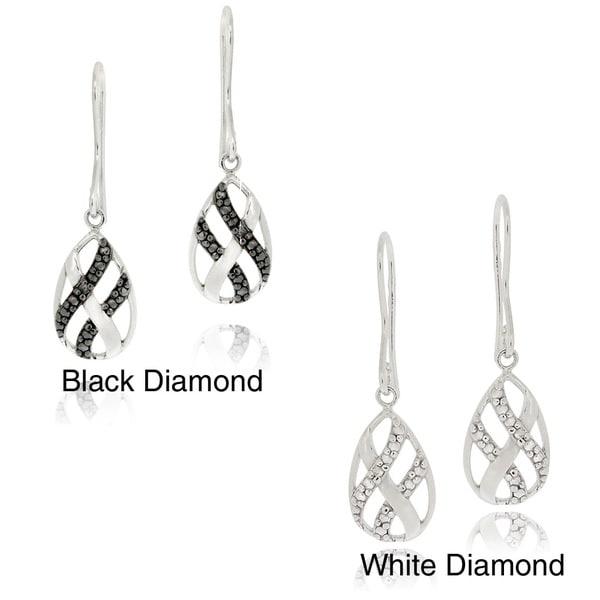 DB Designs Sterling Silver Black Diamond Accent Dangle Twist Design Earrings