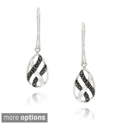DB Designs Sterling Silver Black Diamond Accent Dangle Twist Design Earrings