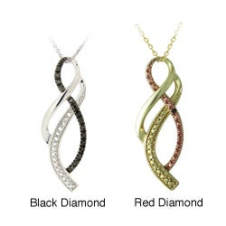 DB Designs Sterling Silver Diamond Accent Ribbon Necklace