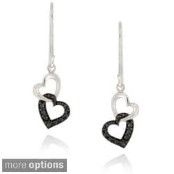 DB Designs Sterling Silver Diamond Accent Interlocking Hearts Dangle Earrings