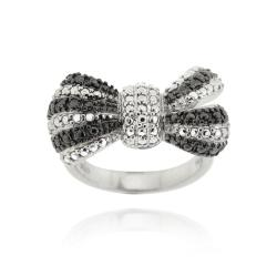 DB Designs Sterling Silver Black Diamond Accent Bow Ring