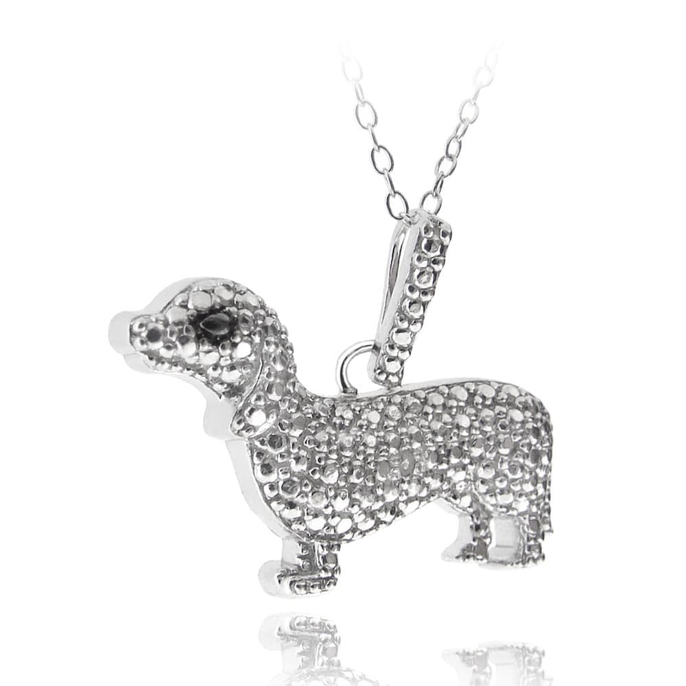 DB Designs Sterling Silver Diamond Accent Dog Necklace