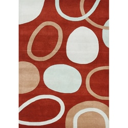 Alliyah Handmade Red New Zealand Blend Wool Rug (9'6 x 8)