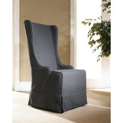 Atlantic Beach Charcoal Linen Wing Dining Chair