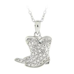 DB Designs Sterling Silver Diamond Accent Cowboy Boots Necklace