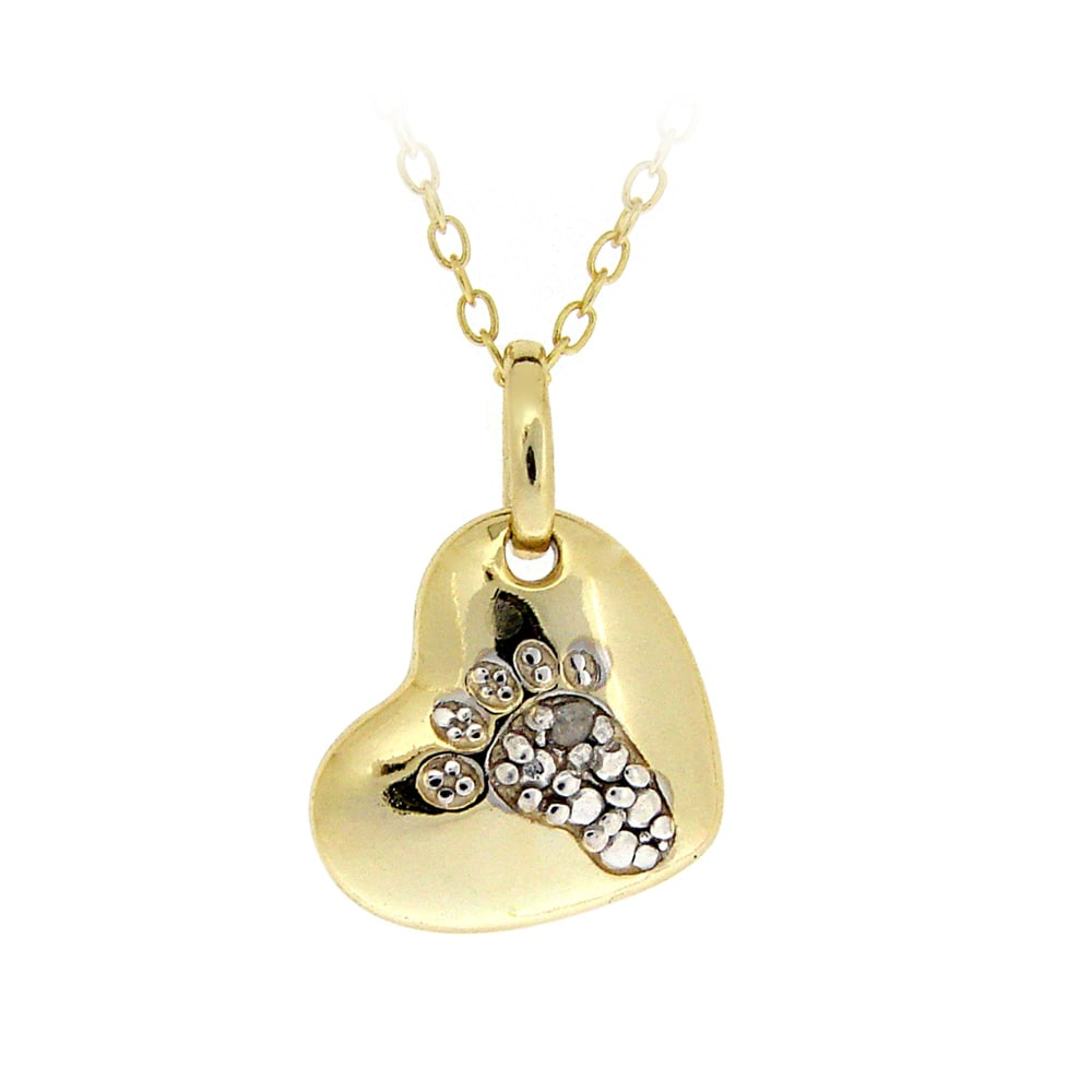 DB Designs 18k Yellow Gold Over Silver Diamond Accent Footprint On A Heart Necklace