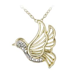 DB Designs 18k Yellow Gold Over Sterling Silver Diamond Accent Bird Necklace