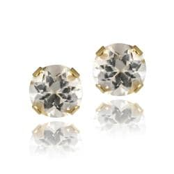 Glitzy Rocks 14k Yellow Gold 5/8ct TGW 4mm White Topaz Stud Earrings