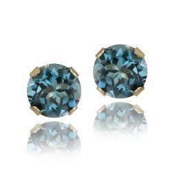 Glitzy Rocks 14 karat Yellow Gold 5/8ct TGW 4mm London Blue Topaz Stud Earrings