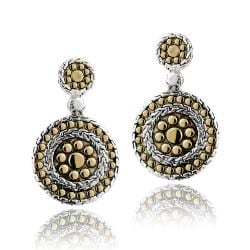Mondevio Two-tone Sterling Silver Round Dangle Earrings