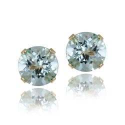 Glitzy Rocks 14k Yellow Gold 3 1/5ct TGW Blue Topaz Stud Earrings
