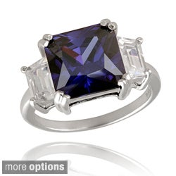 Icz Stonez Sterling Silver Three-stone Cubic Zirconia Square Ring
