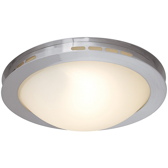 Eros Brushed Steel Opal Glass Flush Mount