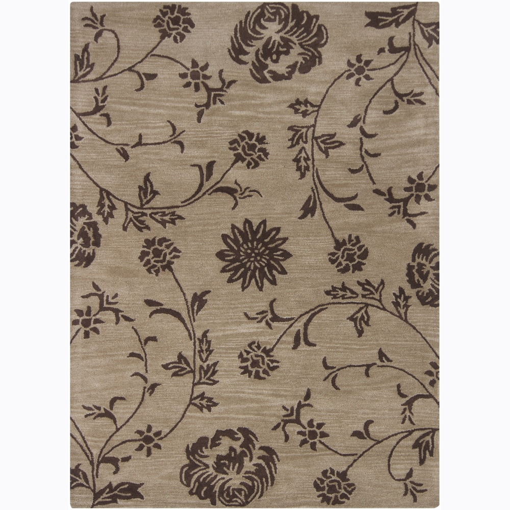 Mandara Hand-tufted Floral Brown Wool Area Rug (9' x 13')
