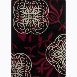Mandara Hand-Tufted Floral Black/Dark-Red Wool Rug (9' x 13')