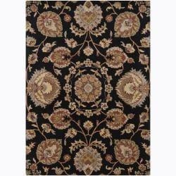 Mandara Hand-Tufted Floral Black/Brown Wool Rug (9' x 13')