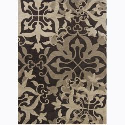 Mandara Hand-tufted Transitional Floral Brown Wool Rug (9' x 13')
