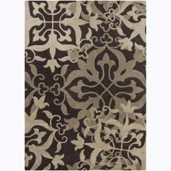 Mandara Hand-tufted Transitional Floral Brown Wool Rug (9' x 13')