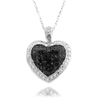 Finesque Silver Overlay 1/4ct TDW Black and White Diamond Necklace (I-J, I2-I3)
