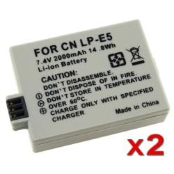 BasAcc Battery for Canon 450D 1000D Rebel Xsi T1i LP-E5 (Pack of 2)