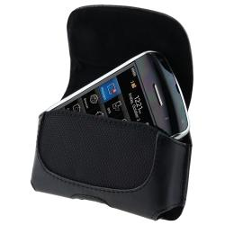 BasAcc Black Leather Pouch Case Cover/ Screen Protector/ Car Travel Charger for BlackBerry Storm 9500/ 9530 Thunder