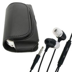 BasAcc Black Horizontal Belt Clip Leather Pouch Case/ Headset for Palm Centro 690 LG Samsung Motorola Models