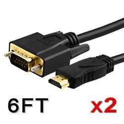 BasAcc VGA to HDMI Black 6-foot M/M Cable (Set of 2)