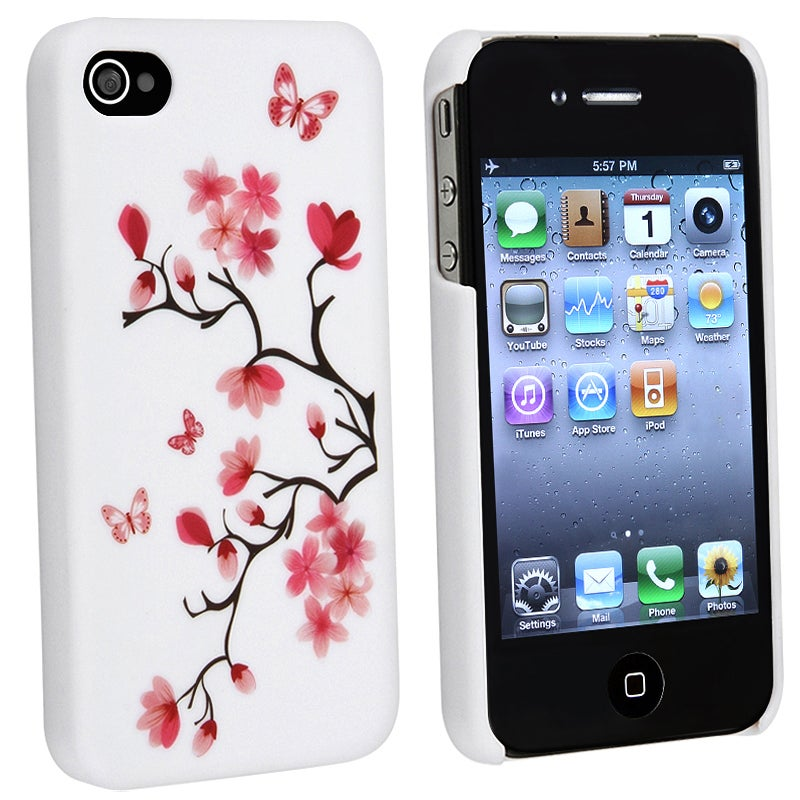 BasAcc Blossom Butterfly Slim Rubber Coated Case for Apple iPhone 4