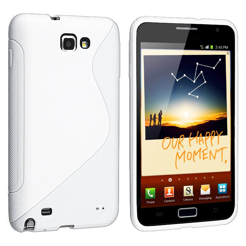 Frost White S Shape TPU Rubber Skin Case for Samsung Galaxy Note N7000