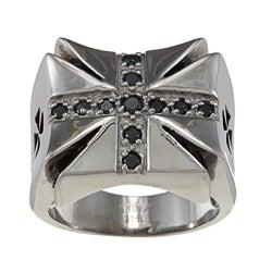 Inox Stainless Steel Black Cubic Zirconia Iron Cross Ring