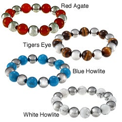 Inox Stainless Steel Gemstone Beaded Stretch Bracelet