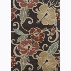 Hand-tufted Mandara Brown Floral Wool Rug (5' x 7')