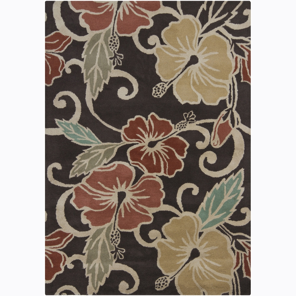 Hand-tufted Mandara Brown Floral Wool Rug (7' x 10')