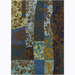 Hand-Tufted Color-Blocked Mandara Floral Wool Rug (5' x 7')