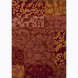Hand-Tufted Mandara Gold/Burgundy/Brown Floral Wool Rug (7' x 10')