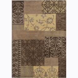 Hand-Tufted Mandara Floral Color-Blocked Wool Rug (7' x 10')
