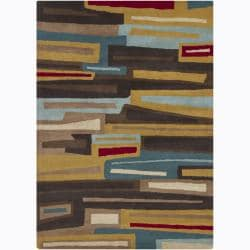 Hand-Tufted Multicolor Mandara Abstract Wool Rug (5' x 7')