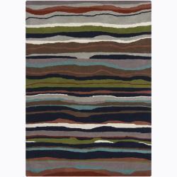 Hand-Tufted Multicolor Mandara Abstract Wool Area Rug (7' x 10')