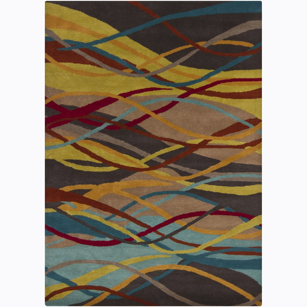 Multicolor Hand-Tufted Mandara Abstract Wool Rug (7' x 10')