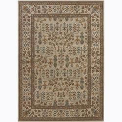 Hand-Tufted Mandara Bordered Floral Wool Rug (7' x 10')