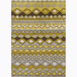 Hand-Tufted Light Multicolor Mandara Abstract Wool Rug (5' x 7')