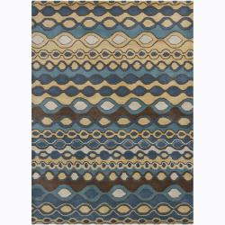 Hand-Tufted Contemporary Mandara Abstract Wool Area Rug (5' x 7')