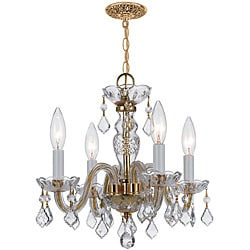 Crystal 4-light Polished Brass Chandelier