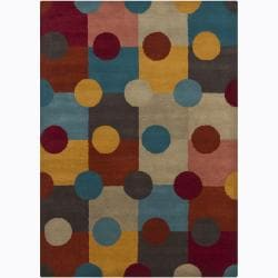 Hand-Tufted Polka-Dot Mandara Abstract Wool Rug (7' x 10')